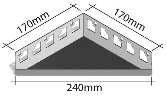Duschablage-Eckablage Schenkel 170x170mm Breite 240mm