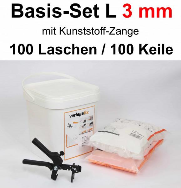 Verlegefix Basis-Set L 3 mm / Kunststoff-Zange / 100 Laschen / 100 Keile