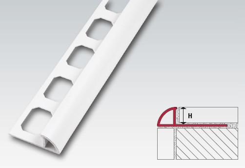 Kunststoff Viertelkreis-Profil, 12,5 mm, geschl., brillantweiß, je 2,50 m