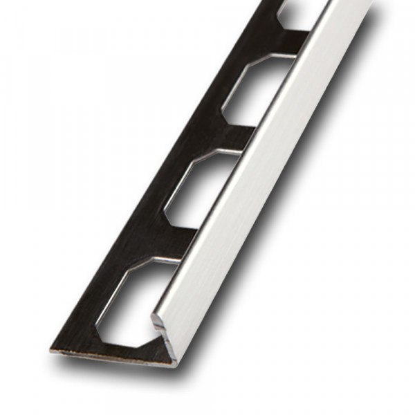 Stainless steel straight edge profile, brushed, length 2,5 mm