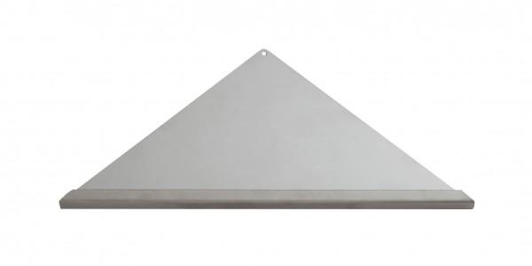 Duschablage-Eckablage, dreieckig, gleichschenklig Vorderkante: Quadroprofil Breite:355x250x250mm