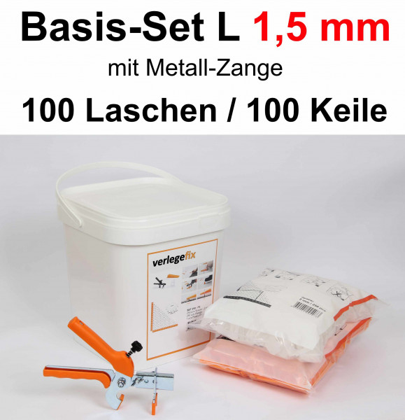 Verlegefix Basis-Set L 1,5 mm / Metall-Zange / 100 Laschen / 100 Keile