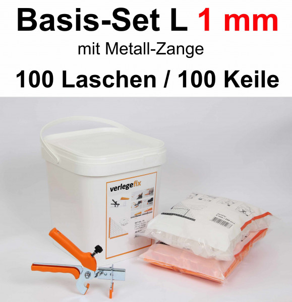 Verlegefix Basis-Set L 1 mm / Metall-Zange / 100 Laschen / 100 Keile