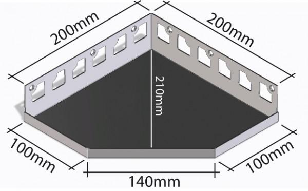 Duschablage-Eckablage Schenkel 200x200mm Tiefe 210mm