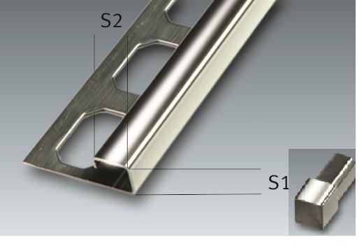 Edelstahl-Quadroschiene Fliesenschine Ecken Fliesenprofil, glänzend, Höhe 7 - 12,5 mm