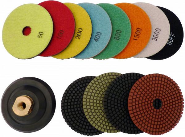 100 mm Nass-Polierscheiben / Körnung 50 - 3000