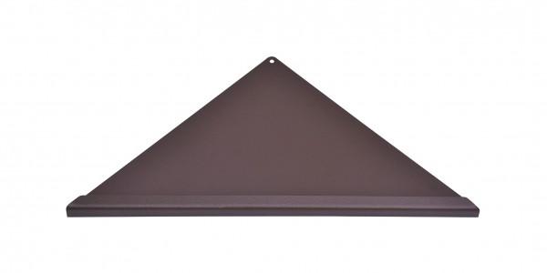 Duschablage-Eckablage, dreieckig, gleichschenklig Vorderkante Quadroprofil,Farbe:braun Breite:395x28