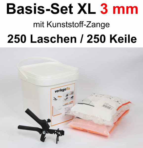 Verlegefix Basis-Set XL 3 mm / Kunststoff-Zange / 250 Laschen / 250 Keile