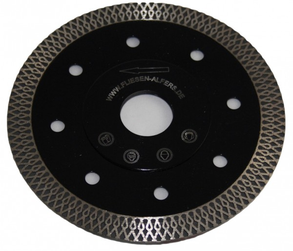 "High-End-Diamantscheibe ""BLACK TIGER"", 115 mm, 1,3 mm, Ornamentsegment, verstärkter Flansc"