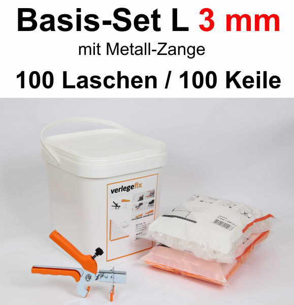 Verlegefix Basis-Set L 3 mm / Metall-Zange / 100 Laschen / 100 Keile