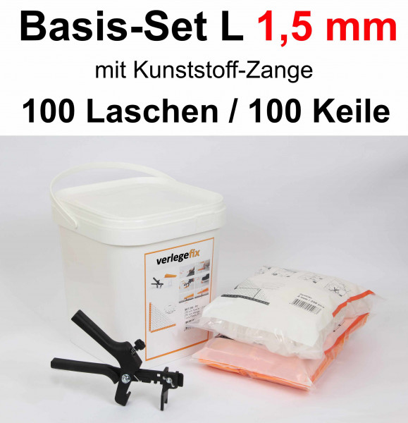 Verlegefix Basis-Set L 1,5 mm / Kunststoff-Zange / 100 Laschen / 100 Keile