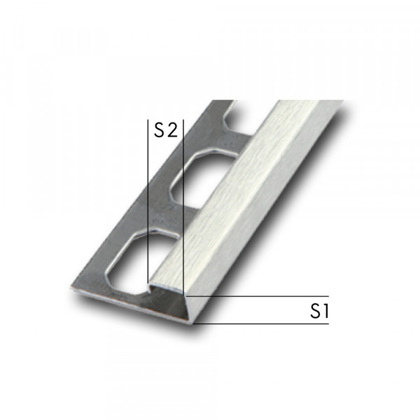 Suitable corners for square edge profile, brushed, height 7- 12,5 mm