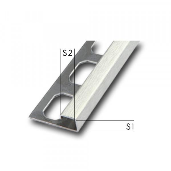 Quadroprofil V2A / Ecken / geschliffen, Höhe 7 - 12,5 mm