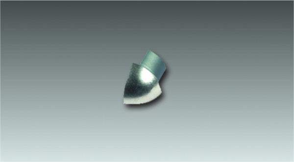 Alu Außenecke für Viertelkreisprofil, eloxiert, Höhe 12,5 mm