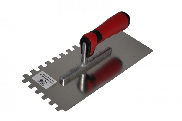 Notched trowel - 4, 6, 8, 10, 12 mm - Made in Germany, stainless steel, soft grip - 280 mm x 130 mm