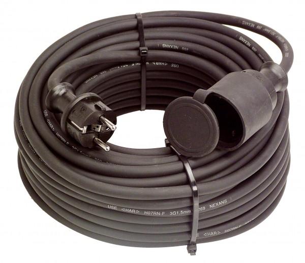 Gummi-Verlängerungsleitung 20 m (schwarz)