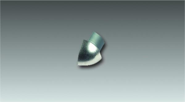 Alu Außenecke für Viertelkreisprofil, eloxiert, Höhe 6 mm
