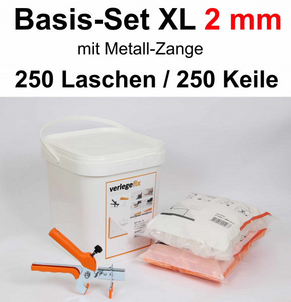 Verlegefix Basis-Set XL 2 mm / Metall-Zange / 250 Laschen / 250 Keile