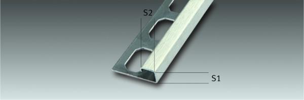 Edelstahl-Quadroschiene Ecken Fliesenschine Fliesenprofil, geschliffen, Höhe 7 - 12,5 mm