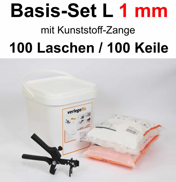 Verlegefix Basis-Set L 1 mm / Kunststoff-Zange / 100 Laschen / 100 Keile