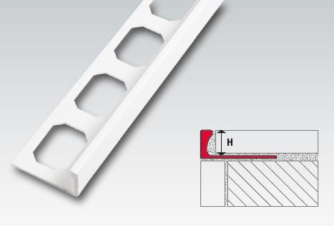 Kunststoff Winkelabschluss-Profil, 10 mm, brillantweiß, je 2,50 m
