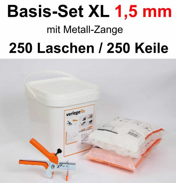 Verlegefix Basis-Set XL 1,5 mm / Metall-Zange / 250 Laschen / 250 Keile