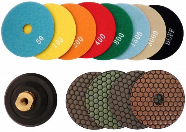 100 mm Trocken-Polierscheiben / Körnung 50 - 3000